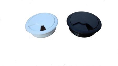 Biurko Gamingowe Standard biało-czarne z przelotką na kabel i led