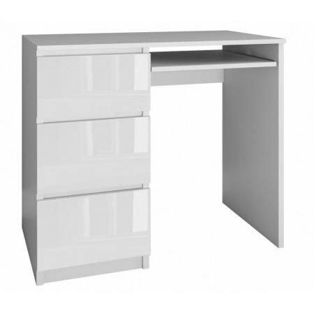 Biurko komputerowe Lima lewe, szerokość 98 cm, białe, połysk