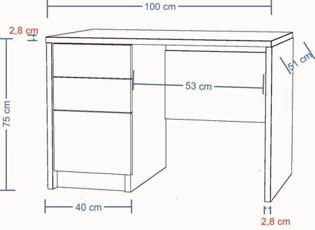 Biurko komputerowe, białe, 100 cm , 2 szuflady i drzwiczki