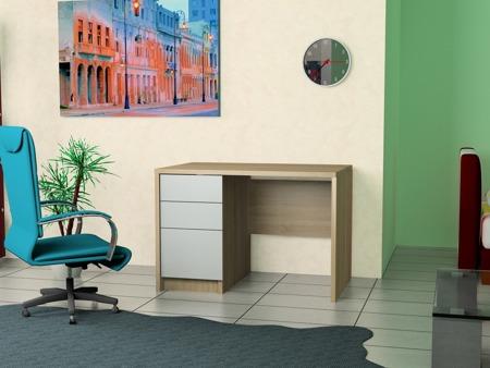 Biurko komputerowe, sonoma, front biały 100 cm , 2 szuflady i drzwiczki
