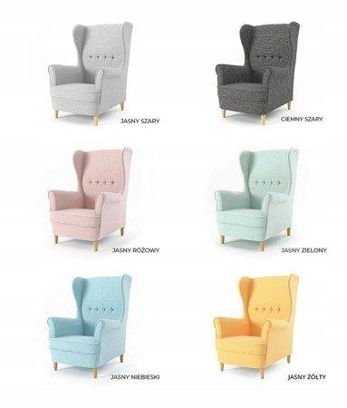 Fotel uszak Milo, styl skandynawski, kolor jasny niebieski