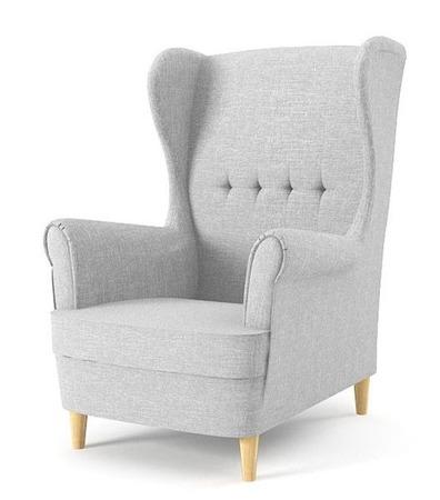 Fotel uszak Milo, styl skandynawski, kolor jasny szary