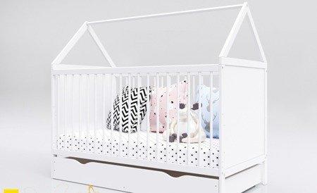 ŁÓŻECZKO DOMEK KOMPLET z szufladą 140 x 70 kolor biały