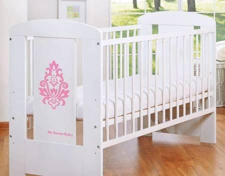 Łóżeczko Glamour 120x60cm Biało-różowe 5015-07-2