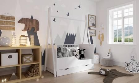 Łóżeczko Tapczanik Tipi 140x70 Biały z szufladą