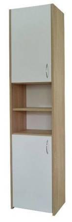 Słupek łazienkowy Adaś 2D 30 cm Sonoma z białymi drzwiami