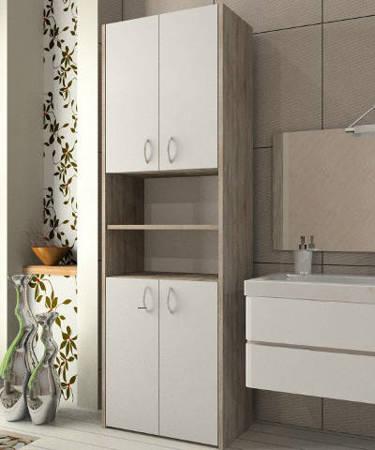 Słupek łazienkowy Adaś 4D 56 cm Sonoma z białymi drzwiami