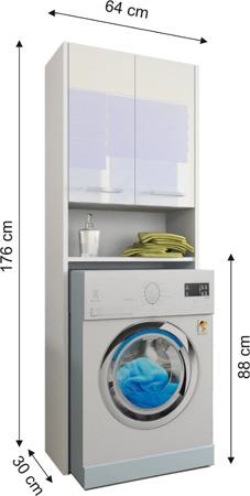 Szafka łazienkowa, wnękowa nad pralkę, kolor biały, Luna 64 cm, połysk akryl